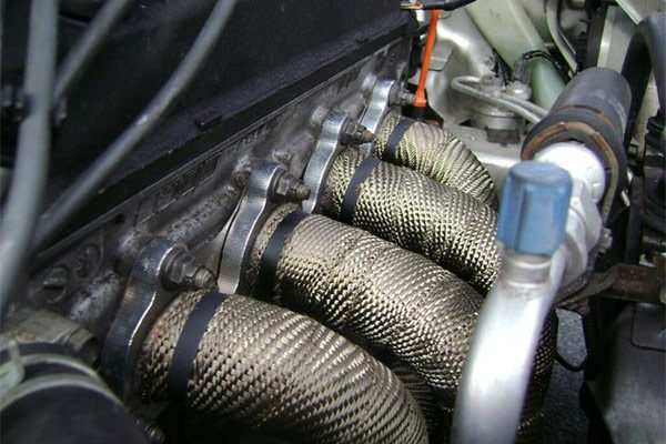 Kool Wrap Titanium Exhaust Wrap on engine