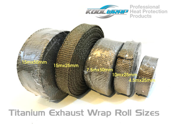 Kool Wrap Titanium Exhaust Wrap sizes
